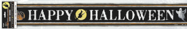 Happy Halloween Black Foil Banner